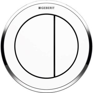 Geberit Dual Flush Button Pneumatic - Type 10 - White / Gloss Chrome [116055KJ1]
