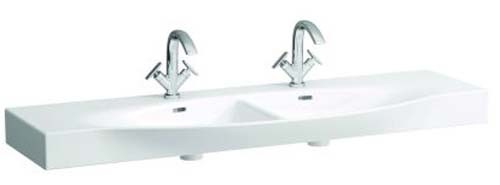 Laufen Palace Double Countertop Basin 150 x 38/51cm One tap hole - White [13706WH]