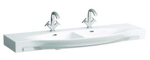 Laufen Palace Double Countertop Basin with Towel Rail 150 x 51cm One tap hole - White [14706WH]