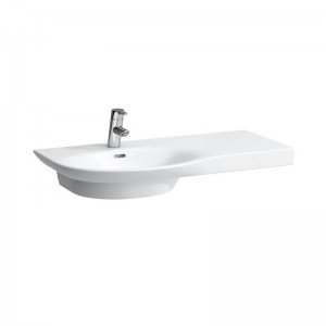 Laufen Palace Offset Countertop Basin 90 x 46/38cm - shelf on right - White [16702WH]