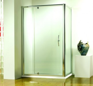 Kudos Original Pivot Wide Door To suit 1000mm shower tray (9410-9810mm) - Chrome Frame  [3PW100S]   1850mm (h) - Glass 6mm