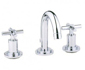 Vitra Uno 3 hole basin mixer with pop-up waste - Chrome [40877CH]