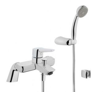 Vitra Q Line Bath Filler with Elbow Hose & Handset - Chrome [42498]