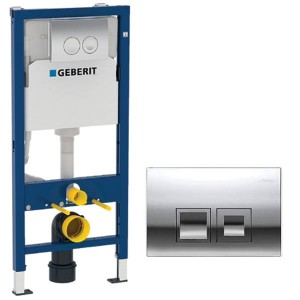 Geberit 112cm with Delta 12cm Front Operated Cistern Complete with Pre Wall brackets WC bend and Delta 50 Dual Flush Plate [458119211]