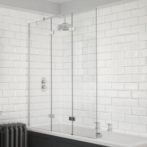 Kudos 4BASCTRIPLEPLHS Inspire 3 Panel Bath Screen 1500 x 1250mm Left Hand Silver
