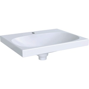 Geberit Acanto Basin 60cm One tap hole - no overflow with built-in ceramic clou waste - White [500629012]