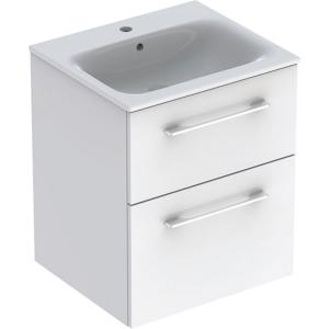 Geberit 501232001 Square S 550mm Slim Basin & Two Drawer Vanity Unit - White
