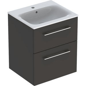 Geberit 501233001 Square S 550mm Slim Basin & Two Drawer Vanity Unit - Lava