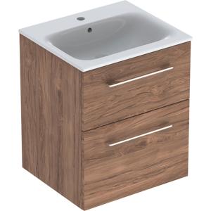 Geberit 501234001 Square S 550mm Slim Basin & Two Drawer Vanity Unit - Hickory