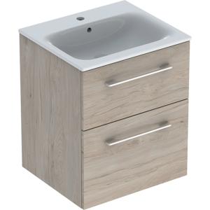 Geberit 501235001 Square S 550mm Slim Basin & Two Drawer Vanity Unit - Light Hickory