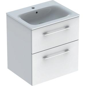 Geberit 501236001 Square S 600mm Slim Basin & Two Drawer Vanity Unit - White