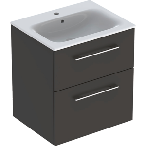 Geberit 501237001 Square S 600mm Slim Basin & Two Drawer Vanity Unit - Lava