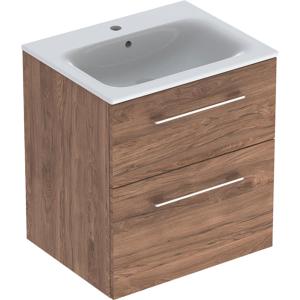 Geberit 501238001 Square S 600mm Slim Basin & Two Drawer Vanity Unit - Hickory