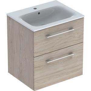 Geberit 501239001 Square S 600mm Slim Basin & Two Drawer Vanity Unit - Light Hickory