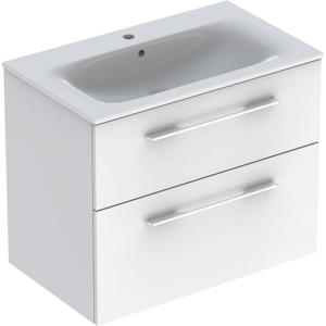 Geberit 501240001 Square S 800mm Slim Basin & Two Drawer Vanity Unit - White