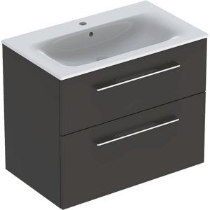 Geberit 501241001 Square S 800mm Slim Basin & Two Drawer Vanity Unit - Lava