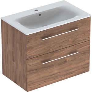 Geberit 501242001 Square S 800mm Slim Basin & Two Drawer Vanity Unit - Hickory