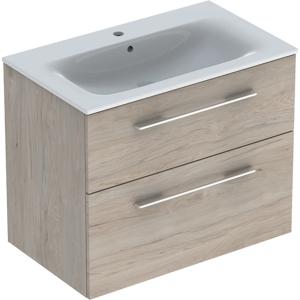 Geberit 501243001 Square S 800mm Slim Basin & Two Drawer Vanity Unit - Light Hickory