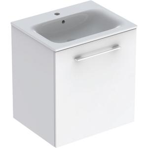 Geberit 501252001 Square S 600mm Slim Basin & One Door Vanity Unit - White