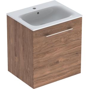 Geberit 501254001 Square S 600mm Slim Basin & One Door Vanity Unit - Hickory