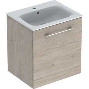 Geberit 501255001 Square S 600mm Slim Basin & One Door Vanity Unit - Light Hickory