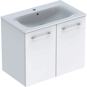Geberit 501256001 Square S 800mm Slim Basin & Two Door Vanity Unit - White