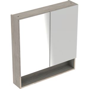 Geberit 501267001 Square S 588mm Mirror Cabinet with Two Doors - Light Hickory