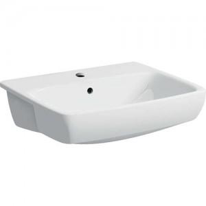 Geberit Selnova Square 55cm Semi-recessed Washbasin - White - 1 Tap Hole [501467007]