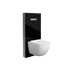 Vitra Vitrus Glass Covered Concealed Cistern 2.5/4 Litre for Wall Mounted WC - Black - with stop valve [770577102]