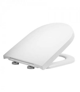 Tavistock Delta - D Shaped Soft Close WC Seat with chrome hinges - Gloss White  [8903WSC]