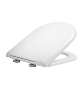 Tavistock Dune - D Shaped Soft CloseWC Seat with chrome hinges - Gloss White  [8904WSC]