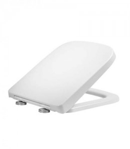 Tavistock Area - Soft Square Soft Close WC Seat with chrome hinges - Gloss White  [8905WSC]