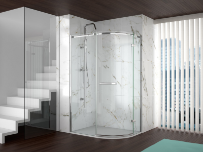 MERLYN A0601FL1D Series 8 - Frameless 1 Door Offset Quadrant without Shower Tray