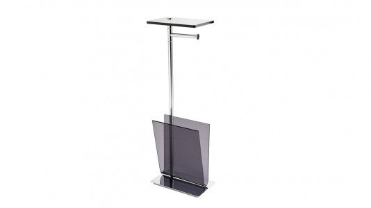 Inda Avenue Stand with Paper Holder and Magazine Holder. 26 x 73h x 16cm - Smoke  [A57850DL]