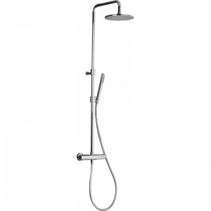 Abode Showers Circular Wall Mounted Thermostatic valve with rigid riser fixed head and shower kit - Chrome - [AB4190]
