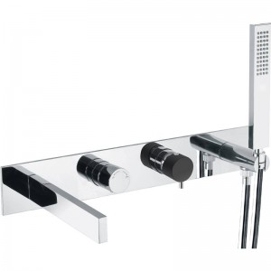 Abode AB4198 Cyclo Wall Mounted Bath Shower Mixer with Shower Handset - Black/Chrome
