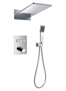 Flova ANT3WPK1 Annecy/Cascade GoClick Thermostatic 3-Outlet Shower Valve with 2-Function Rainshower & Handshower Kit