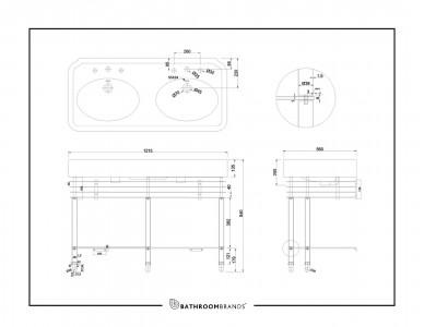 Burlington ARC12003TH Arcade Double Basin 1215 x 560mm 3 Tapholes White