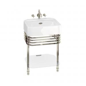 Burlington ARC22 Arcade Wash Stands Nickel with Glass Shelf for 600mm Basins