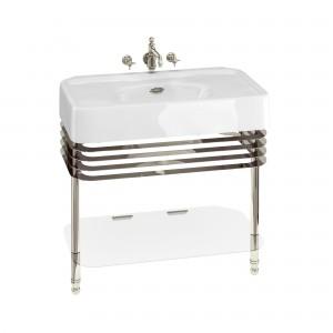 Burlington ARC23 Arcade Wash Stands Nickel with Glass Shelf for 900mm Basins