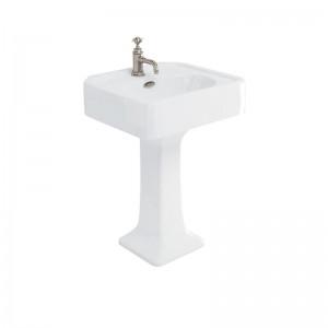 Burlington ARC6001TH Arcade Pedestal Basin 605 x 525mm 1 Taphole White