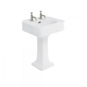 Burlington ARC6002TH Arcade Pedestal Basin 605 x 525mm 2 Tapholes White