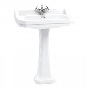 Burlington B181TH Edwardian Pedestal Basin 800 x 510mm 1 Taphole White