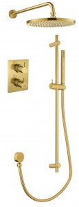 Flova BB-LVT2WPK2-SQ Levo-BB SmartBOX Square Thermostatic 2-Outlet Shower Valve with Fixed Head & Handshower Kit