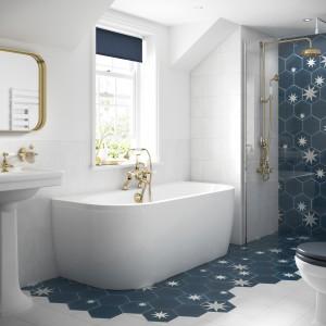 BC Designs BAI025 SolidBlue Monreale Back To Wall Bath 1700 x 750mm