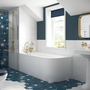 BC Designs BAIP023 SolidBlue Amerina Reversible Curved Bath Panel 1700 x 560mm