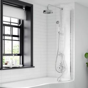 BC Designs BSS020 SolidBlue Curved P Bath Screen 1435 x 720mm