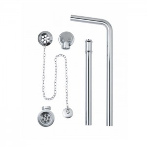 BC Designs WAS030 Exposed Bath Waste Plug & Chain with Overflow Pipe Chrome