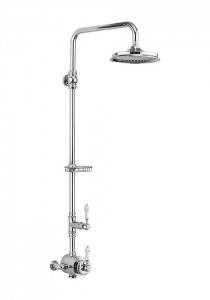 Burlington Stour Exposed with Rigid Riser with rigid riser fixed shower arm and soap basket - chrome/white [BF2S]