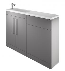 The White Space BISHBAG Scene I Shape Basin Unit with Doors - Grey